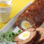 Minced meat roll and egg