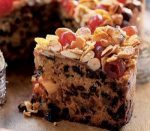 Chocolate cake with candied fruits and