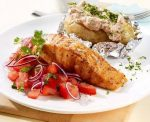 Baked potatoes with salmon