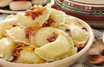 Vareniki with potatoes and diced meat
