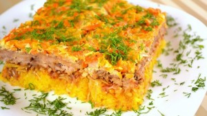 Casserole with minced meat and rice