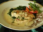 Chicken in lemon-butter sauce and spinach