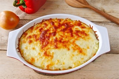 Potatoes baked with minced meat